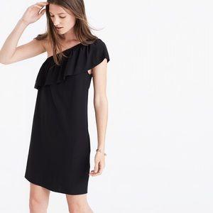 Madewell Silk One-Shoulder Dress in Black NEW